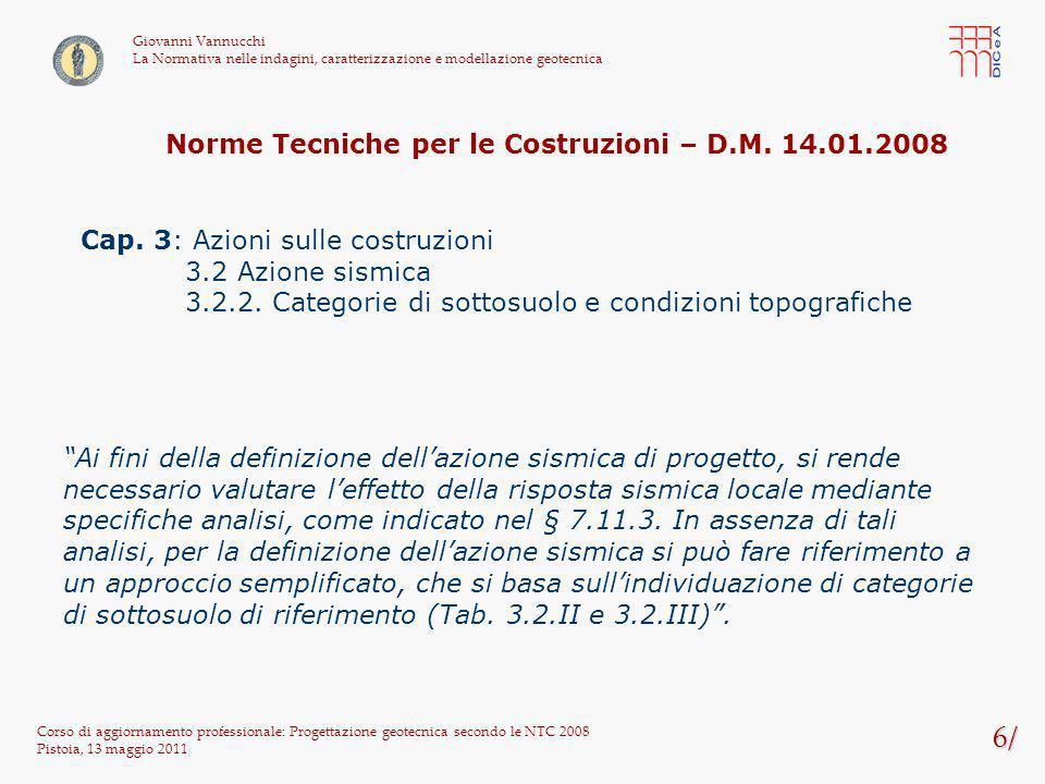 Norme Tecniche per le Costruzioni – D.M. 14.01.2008