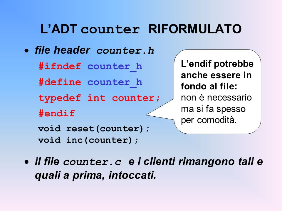 L'ADT counter RIFORMULATO