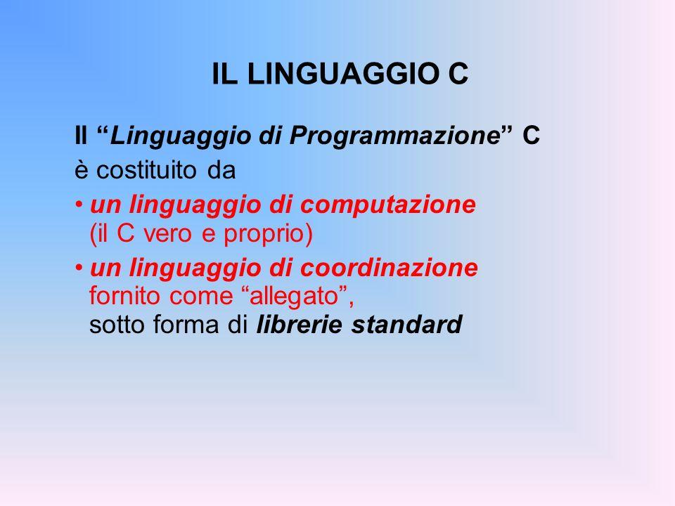 IL LINGUAGGIO C Il Linguaggio di Programmazione C è costituito da
