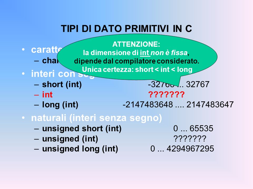 TIPI DI DATO PRIMITIVI IN C