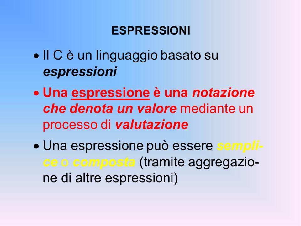 Il C è un linguaggio basato su espressioni