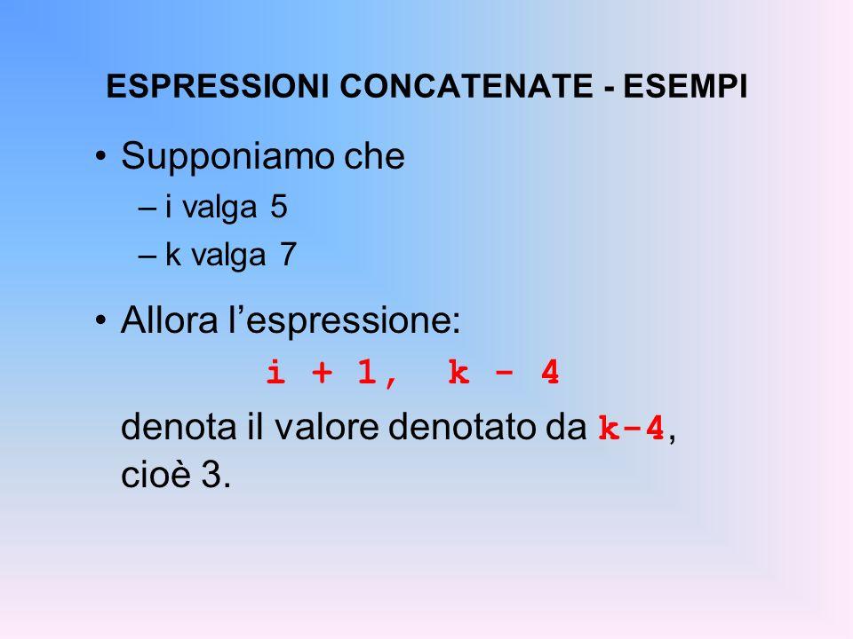 ESPRESSIONI CONCATENATE - ESEMPI