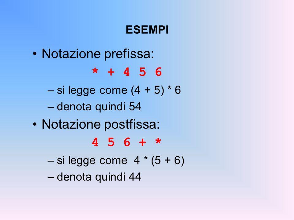 Notazione prefissa: * + 4 5 6 Notazione postfissa: 4 5 6 + * ESEMPI