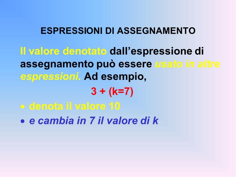 ESPRESSIONI DI ASSEGNAMENTO
