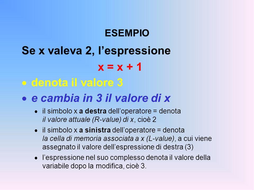 Se x valeva 2, l'espressione x = x + 1 denota il valore 3