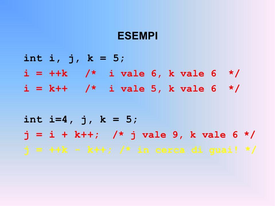 ESEMPI int i, j, k = 5; i = ++k /* i vale 6, k vale 6 */ i = k++ /* i vale 5, k vale 6 */ int i=4, j, k = 5;