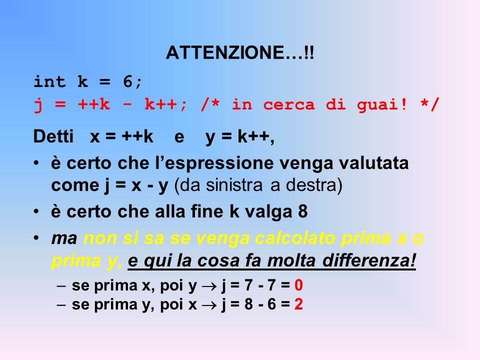 j = ++k - k++; /* in cerca di guai! */ Detti x = ++k e y = k++,