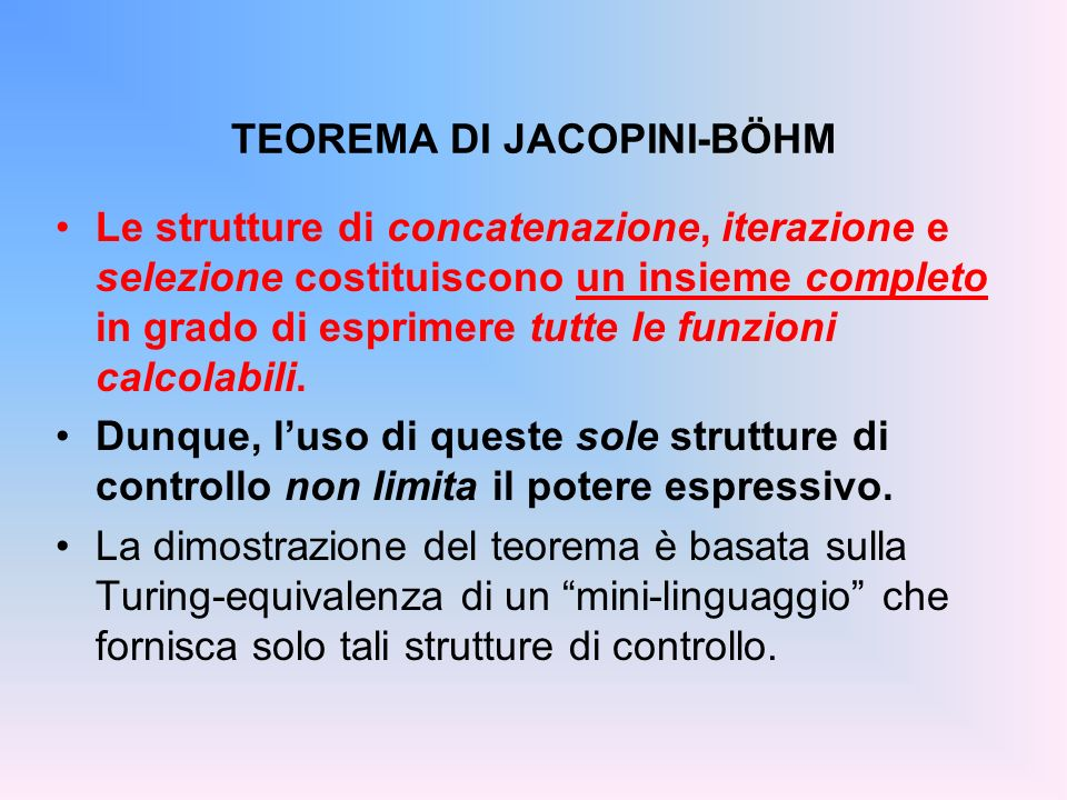 TEOREMA DI JACOPINI-BÖHM