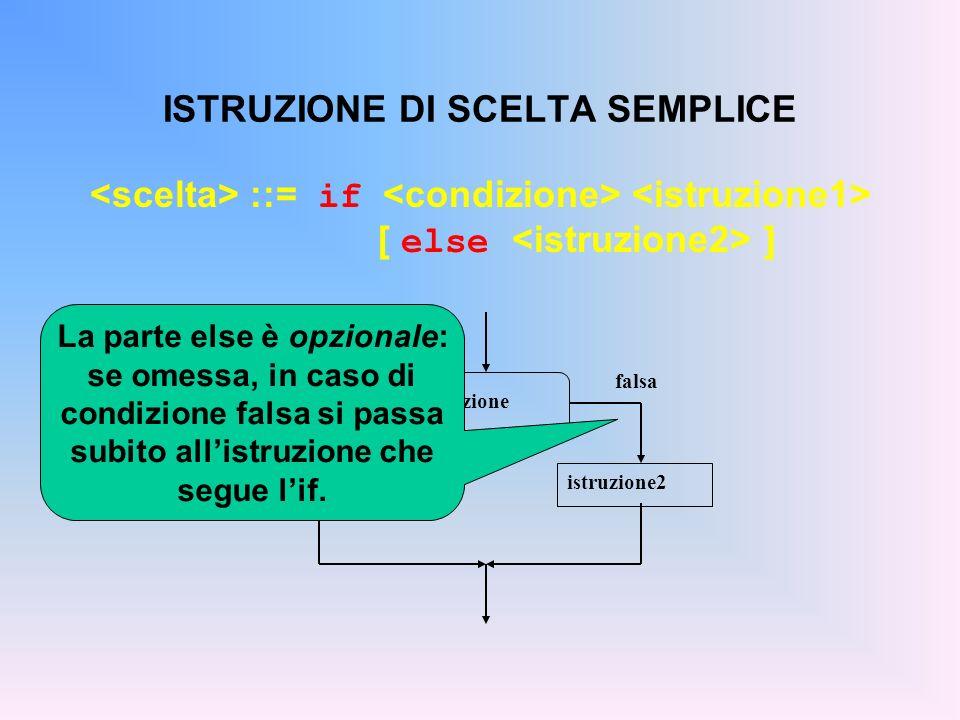 ISTRUZIONE DI SCELTA SEMPLICE