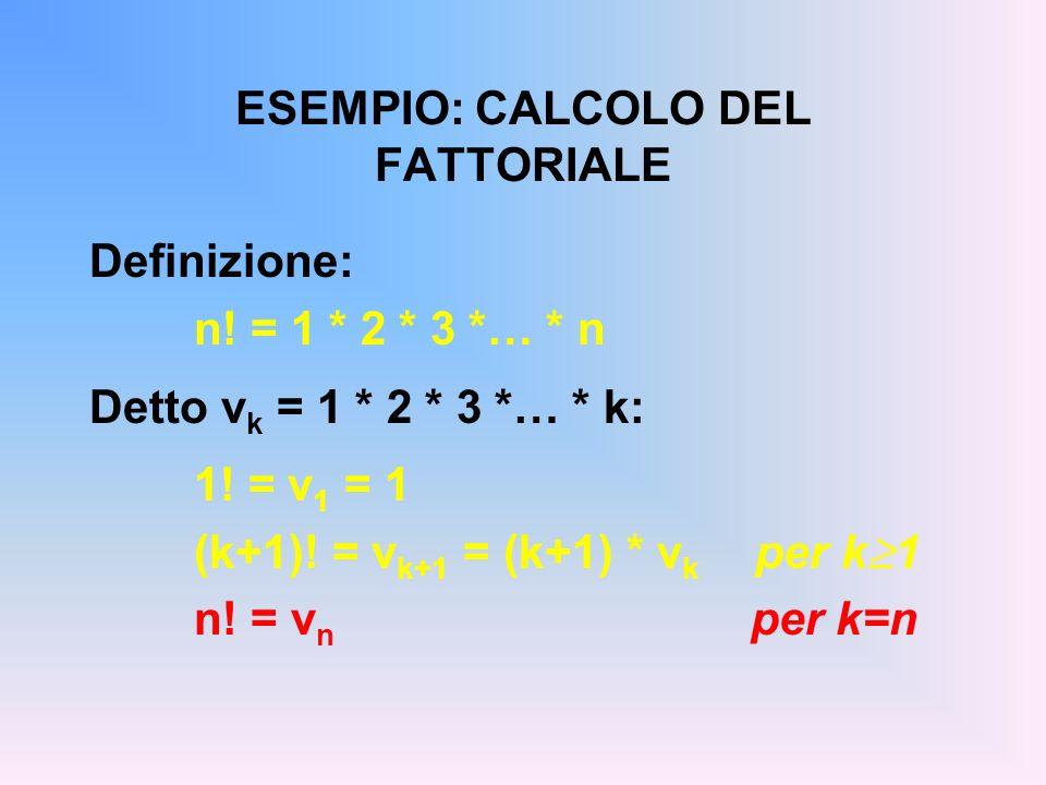 ESEMPIO: CALCOLO DEL FATTORIALE