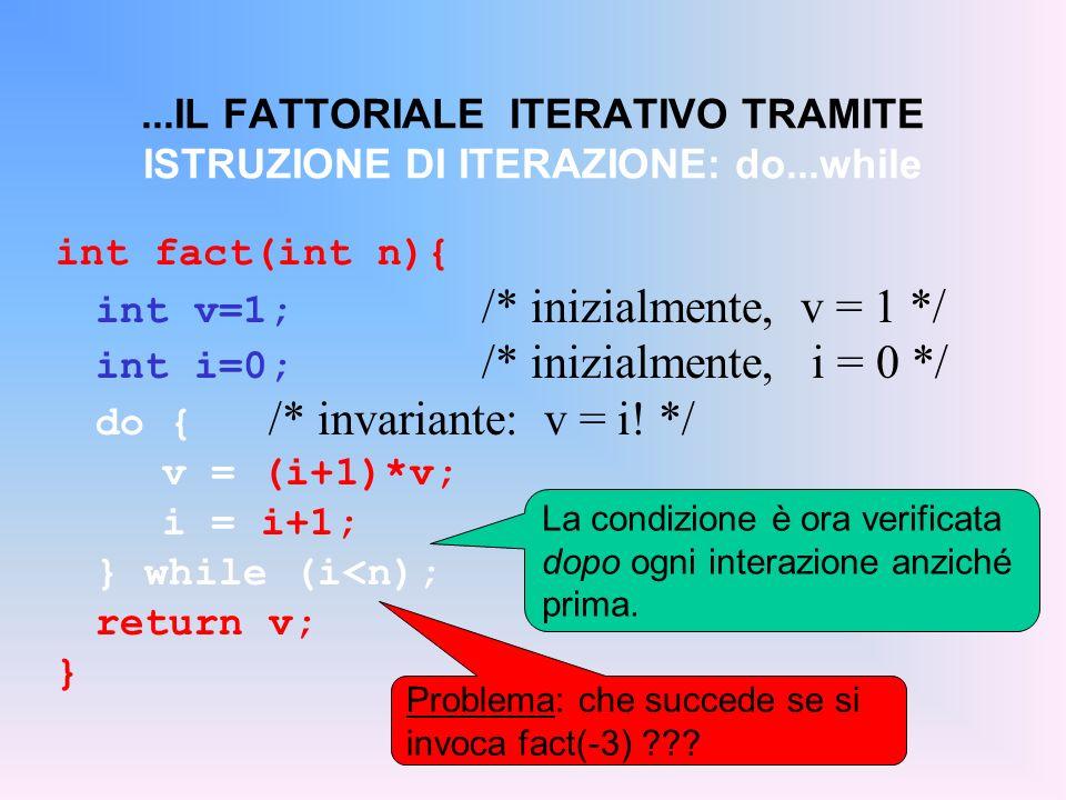 int v=1; /* inizialmente, v = 1 */ int i=0; /* inizialmente, i = 0 */