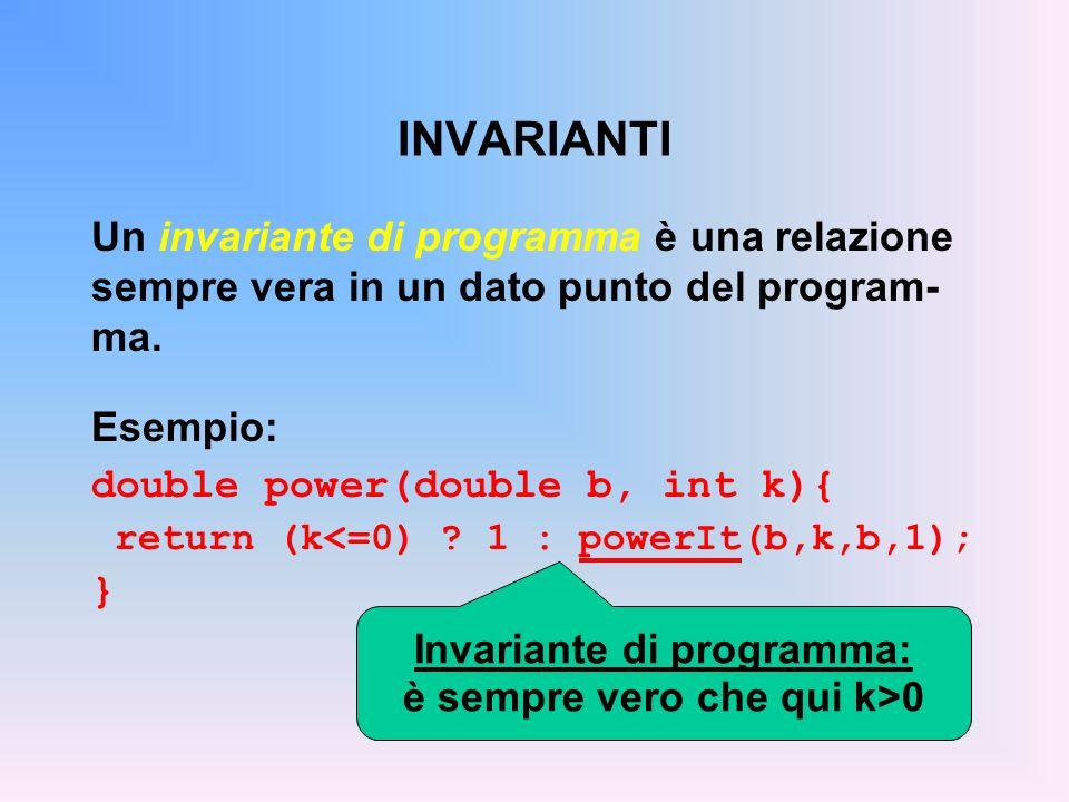 Invariante di programma: è sempre vero che qui k>0