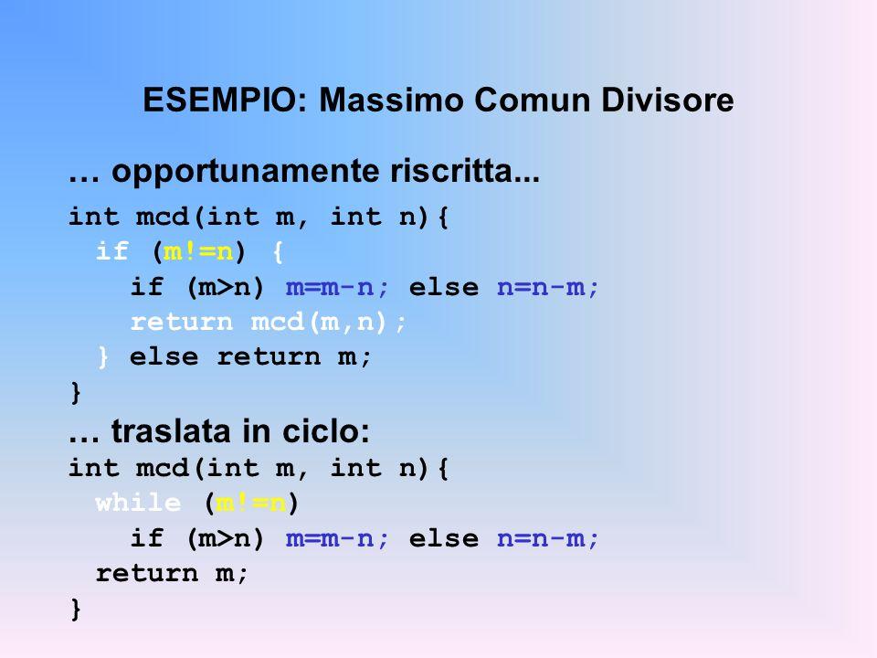ESEMPIO: Massimo Comun Divisore