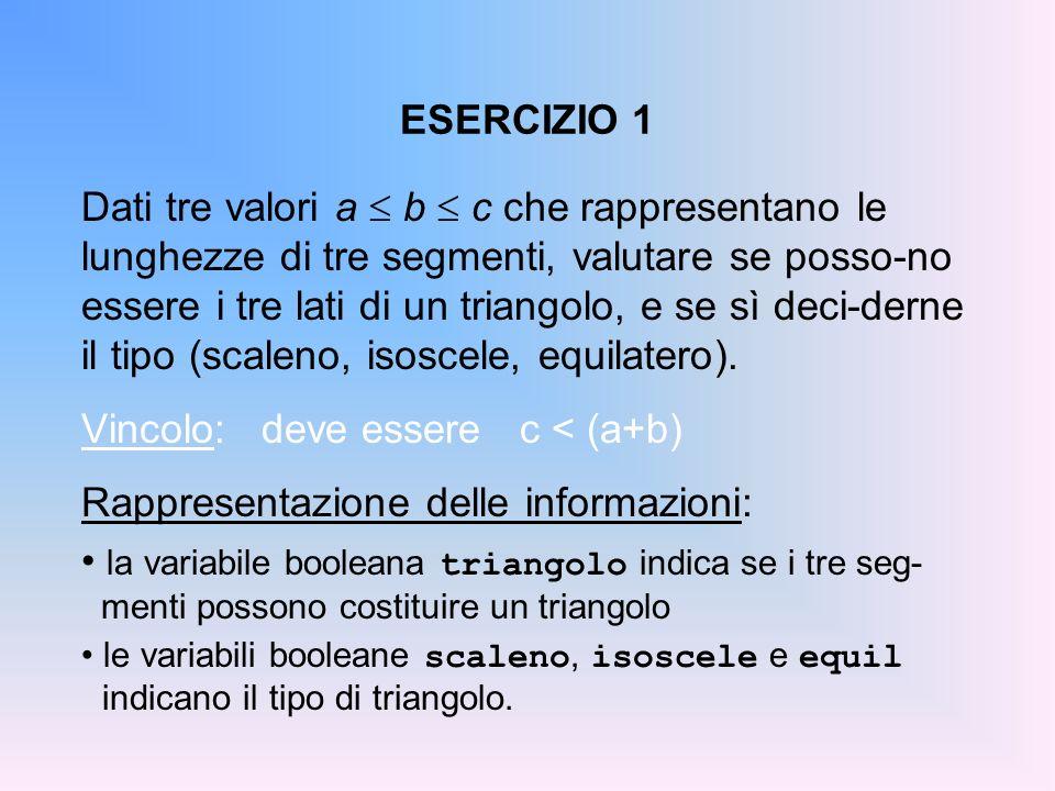 Vincolo: deve essere c < (a+b) Rappresentazione delle informazioni: