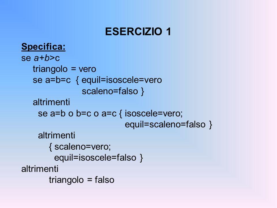 ESERCIZIO 1 Specifica: se a+b>c triangolo = vero