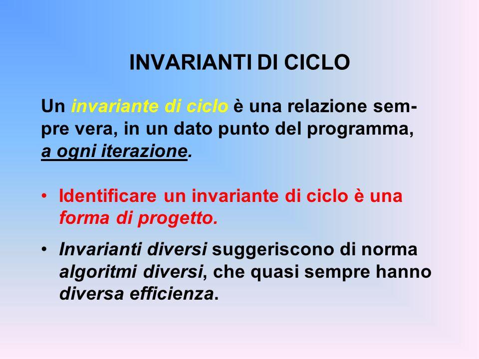 INVARIANTI DI CICLO Un invariante di ciclo è una relazione sem-