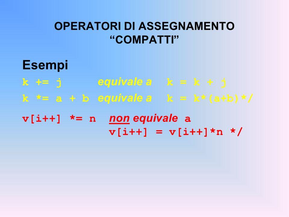 OPERATORI DI ASSEGNAMENTO COMPATTI