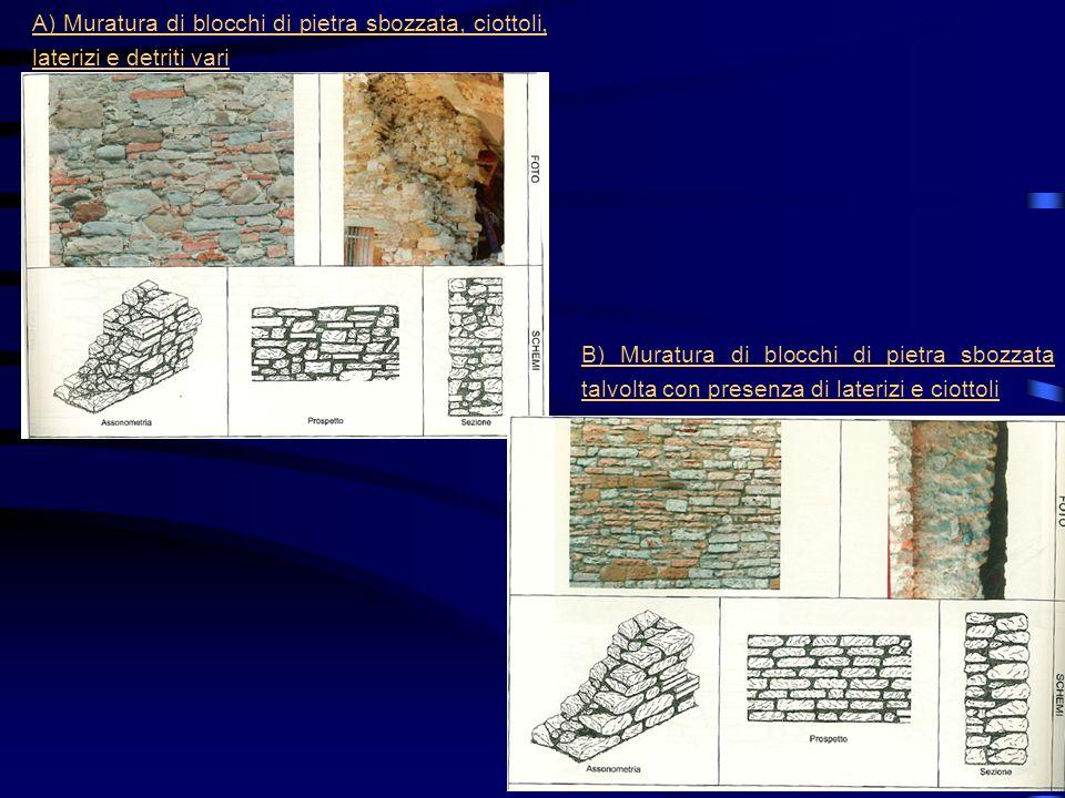 A) Muratura di blocchi di pietra sbozzata, ciottoli, laterizi e detriti vari