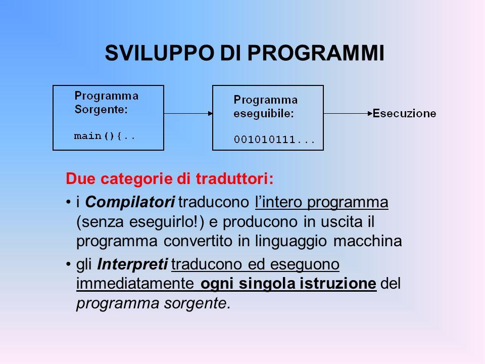SVILUPPO DI PROGRAMMI Due categorie di traduttori: