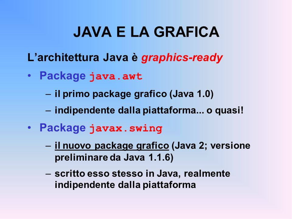 JAVA E LA GRAFICA L'architettura Java è graphics-ready