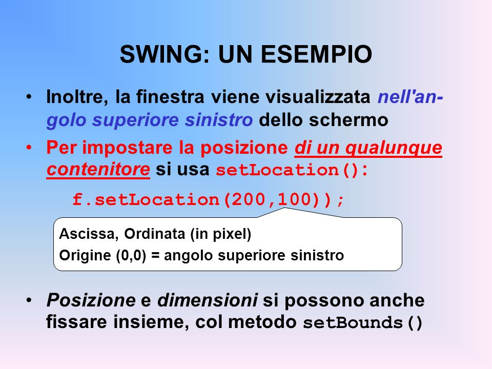 SWING: UN ESEMPIO Inoltre, la finestra viene visualizzata nell an-golo superiore sinistro dello schermo.