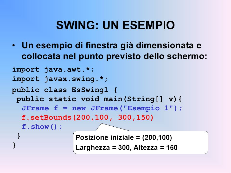 SWING: UN ESEMPIO Un esempio di finestra già dimensionata e collocata nel punto previsto dello schermo: