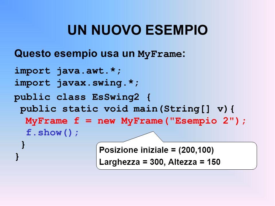 UN NUOVO ESEMPIO Questo esempio usa un MyFrame: import java.awt.*;