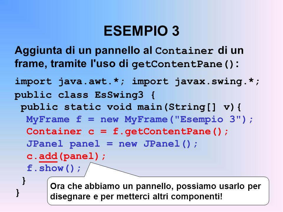 ESEMPIO 3 Aggiunta di un pannello al Container di un