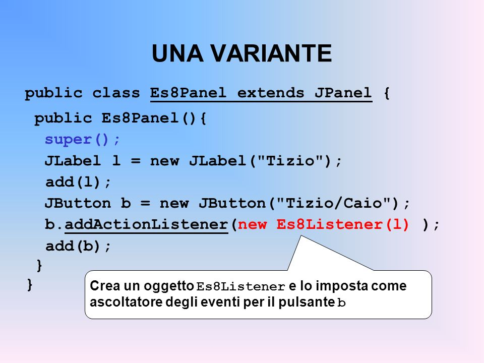 UNA VARIANTE public class Es8Panel extends JPanel { public Es8Panel(){