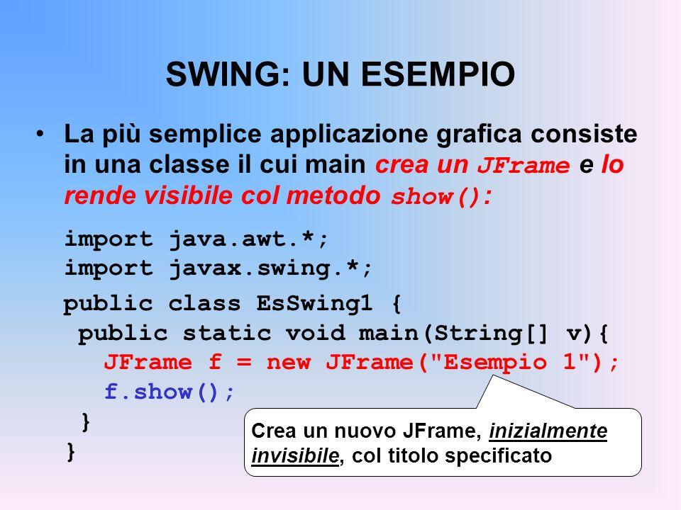 SWING: UN ESEMPIO La più semplice applicazione grafica consiste in una classe il cui main crea un JFrame e lo rende visibile col metodo show():