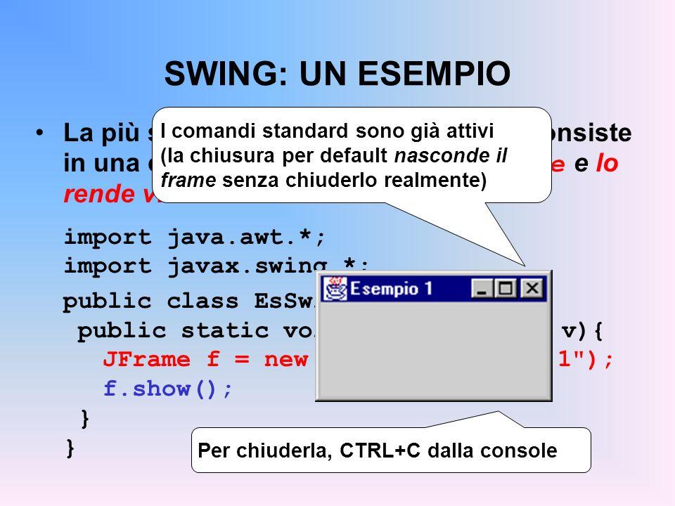SWING: UN ESEMPIO I comandi standard sono già attivi (la chiusura per default nasconde il frame senza chiuderlo realmente)