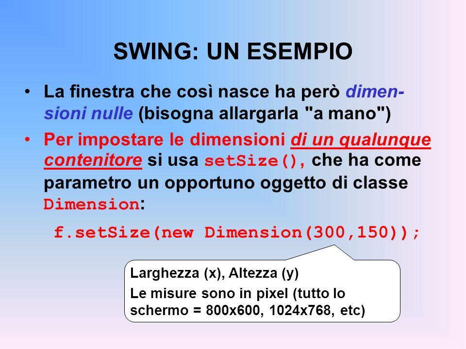 SWING: UN ESEMPIO La finestra che così nasce ha però dimen-sioni nulle (bisogna allargarla a mano )