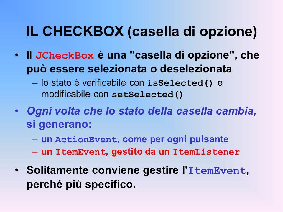 IL CHECKBOX (casella di opzione)