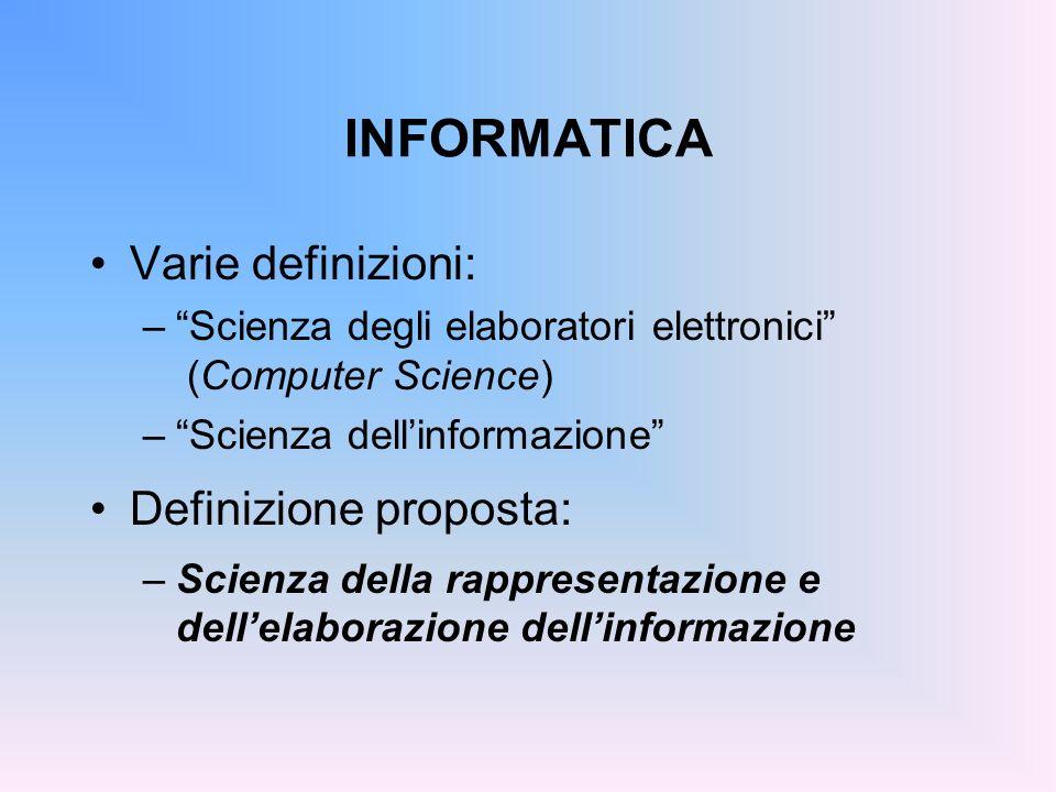 INFORMATICA Varie definizioni: Definizione proposta: