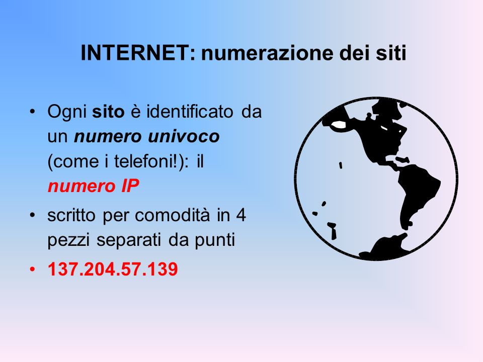 INTERNET: numerazione dei siti