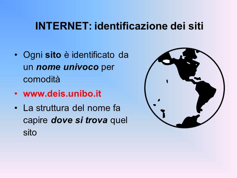INTERNET: identificazione dei siti