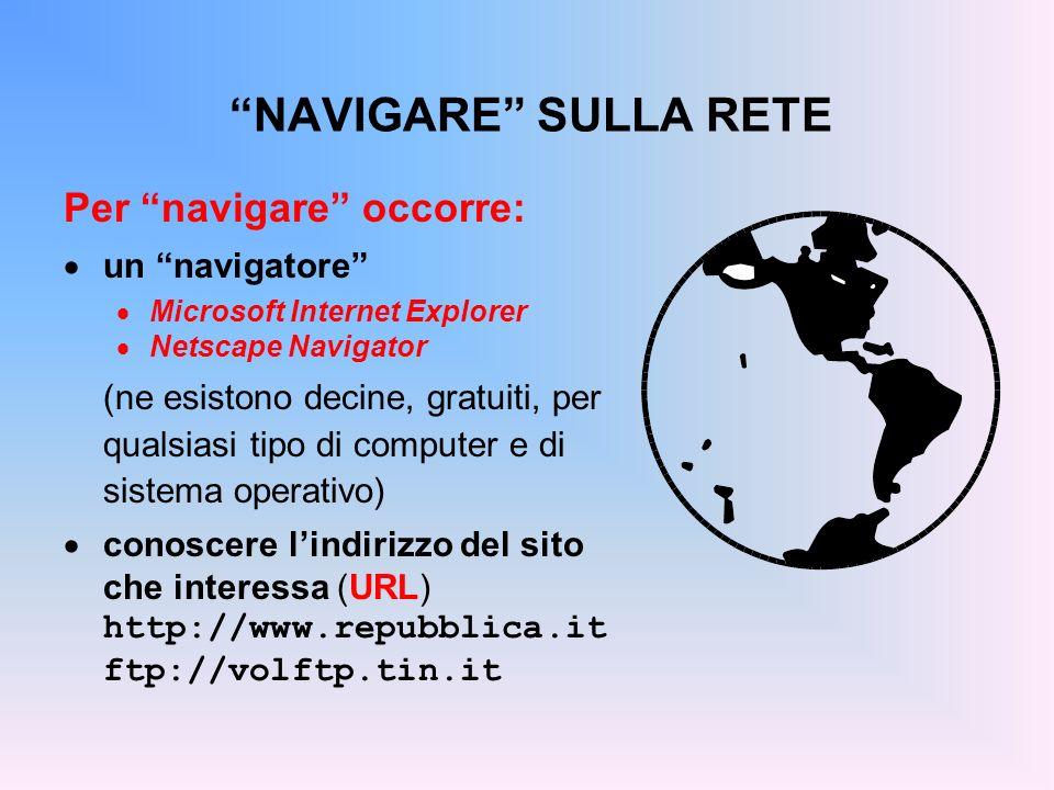 NAVIGARE SULLA RETE Per navigare occorre: un navigatore