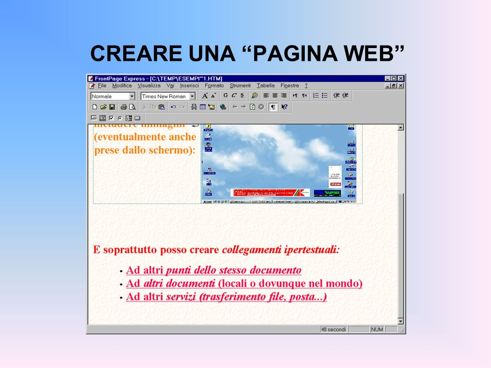 CREARE UNA PAGINA WEB