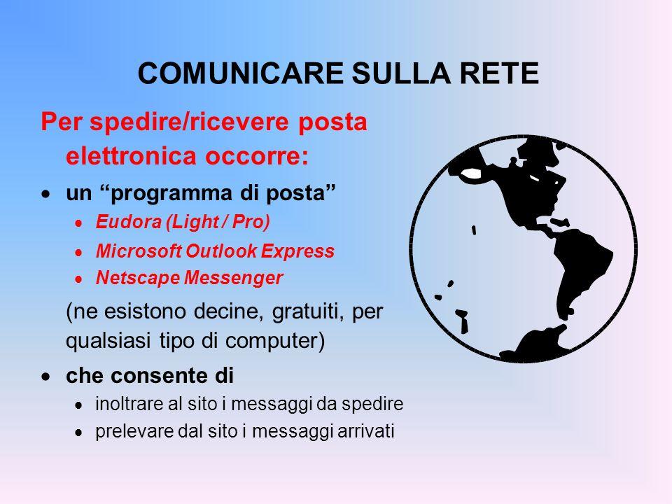 COMUNICARE SULLA RETE Per spedire/ricevere posta elettronica occorre: