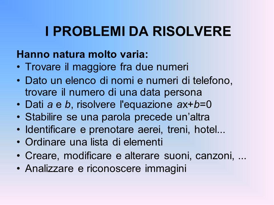 I PROBLEMI DA RISOLVERE