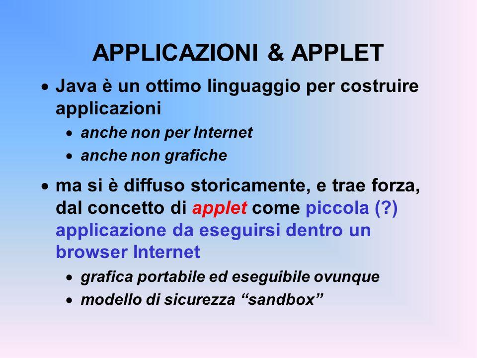 APPLICAZIONI & APPLET Java è un ottimo linguaggio per costruire applicazioni. anche non per Internet.