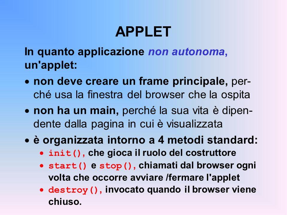APPLET In quanto applicazione non autonoma, un applet: