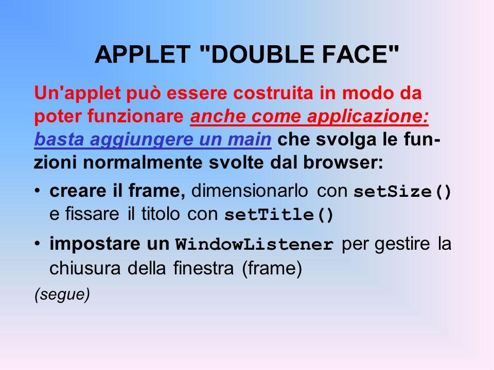 APPLET DOUBLE FACE Un applet può essere costruita in modo da