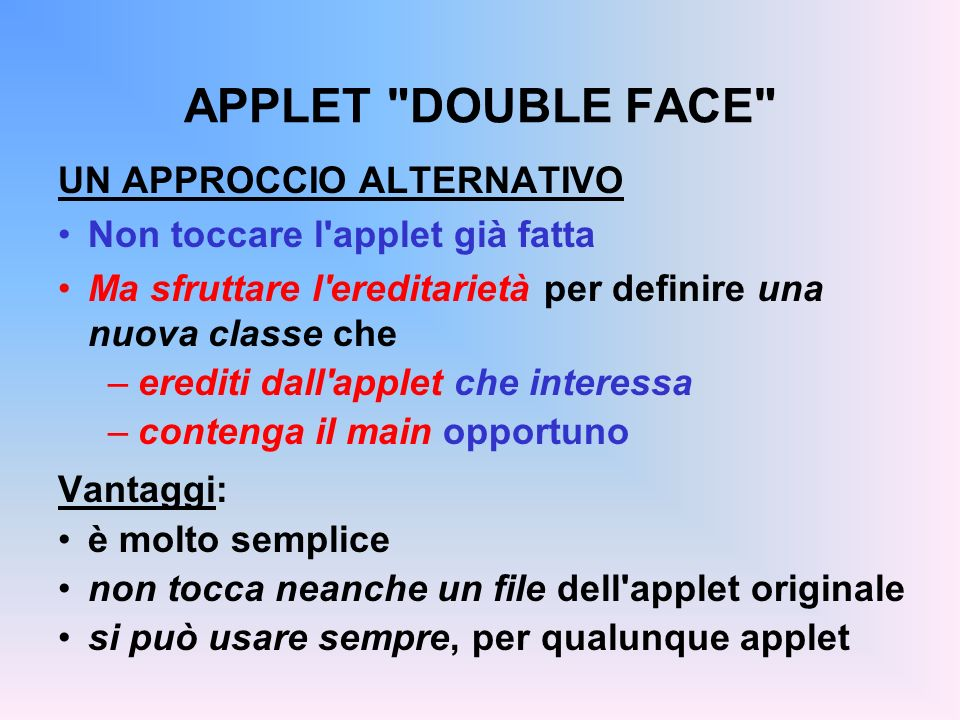 APPLET DOUBLE FACE UN APPROCCIO ALTERNATIVO