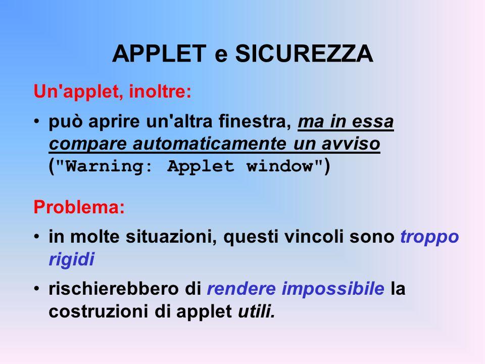 APPLET e SICUREZZA Un applet, inoltre: