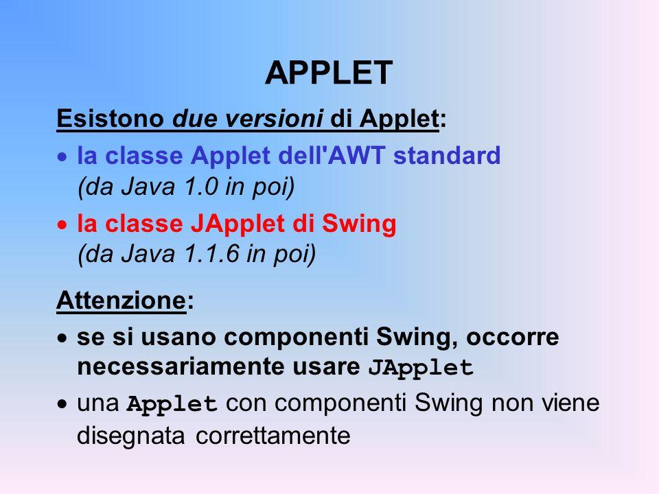 APPLET Esistono due versioni di Applet: