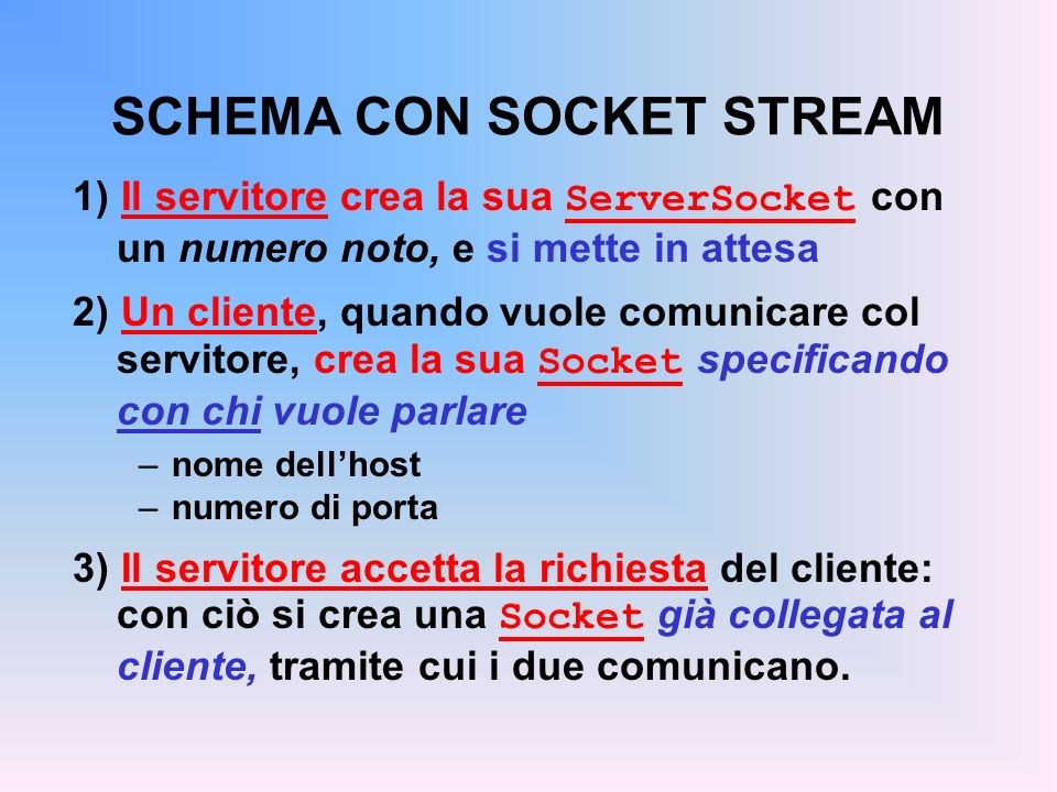 SCHEMA CON SOCKET STREAM