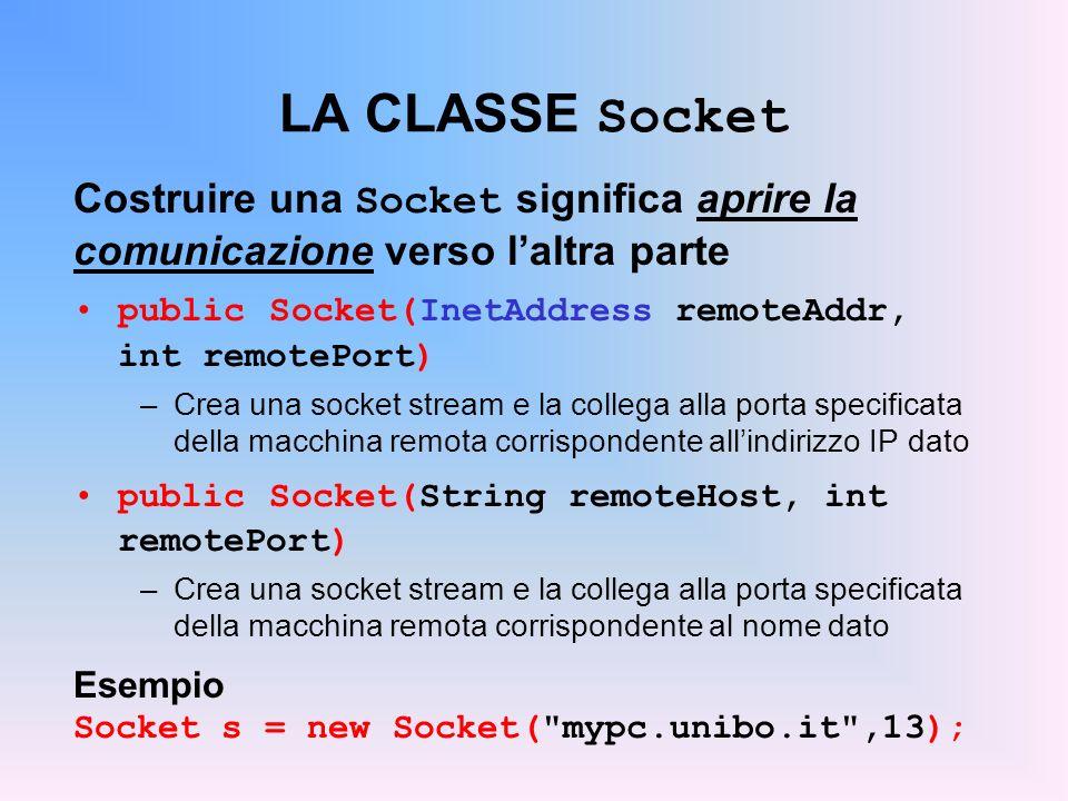 LA CLASSE Socket Costruire una Socket significa aprire la