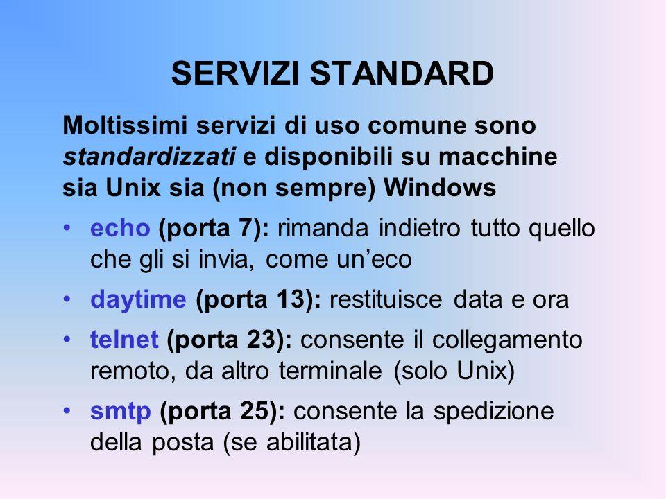 SERVIZI STANDARD Moltissimi servizi di uso comune sono