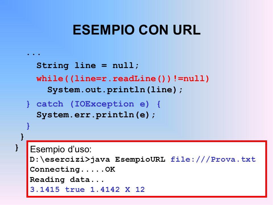 ESEMPIO CON URL ... String line = null;